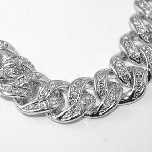 Jewelry - 9 Ct White gold round diamond mens cuban chain nec